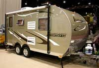 Camplite - all aluminum lightweight trailer, 98% recyclable from Livin Lite. Weight rating starts at under 1500 lbs.