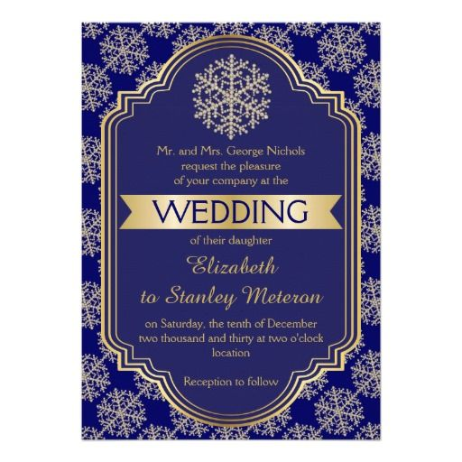 Gold Blue Snowflake And Frame Wedding Card Winter InvitationsCouples