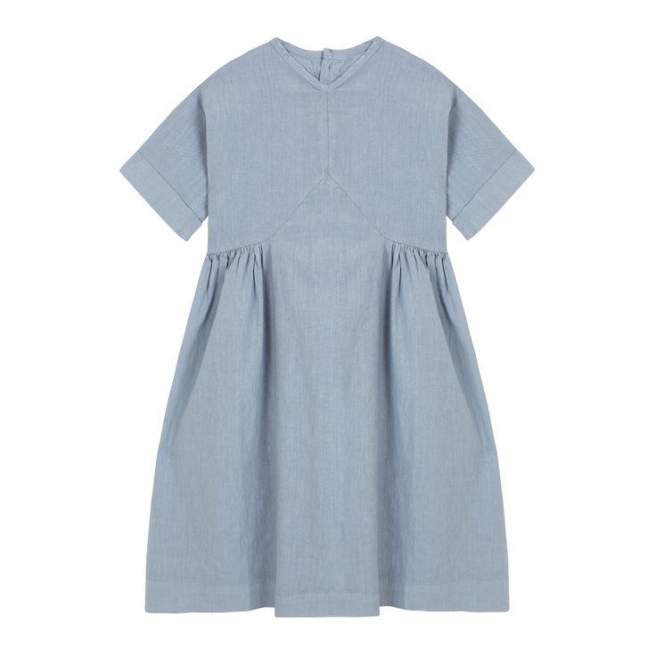 V Dress Blue Denim