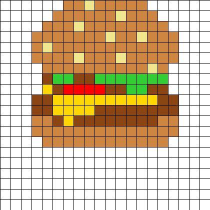 BurgerPerler Perler Bead Pattern | Bead Sprites | Food Fuse Bead Patterns