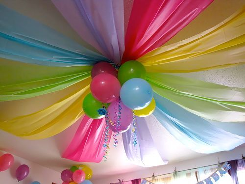 Dollar store plastic tablecloths and a few balloons or poms - awesome party ceiling!