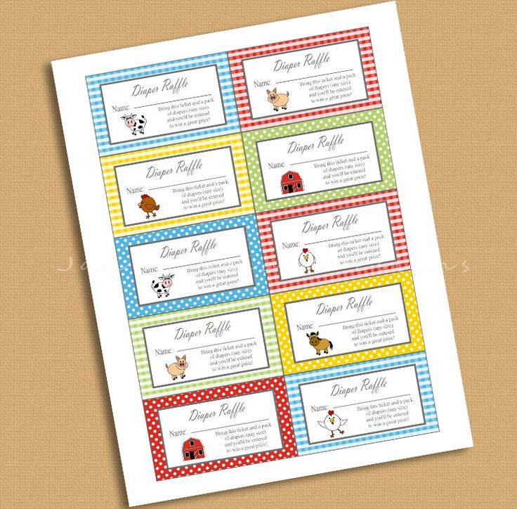 Farm Theme Diaper Raffle Tickets INSTANT DOWNLOAD Printable Raffle Tickets Baby Shower Barnyard DIY by JannaSalakDesigns on Etsy