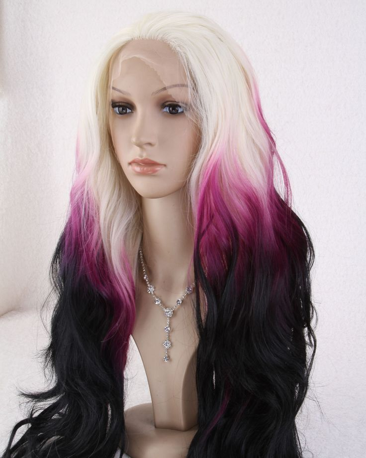 Front lace multi-color purple and white long wavy wig
