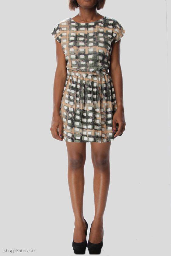 Turtle Tile Print Smock Dress