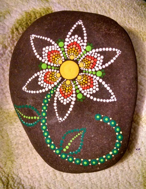 Hand Painted Dot Art Flower ~ Large Painted Beach Stone Colorful Ombre Yellow White Home Decor Ornament ~ Painted Rock Mandala Chevron