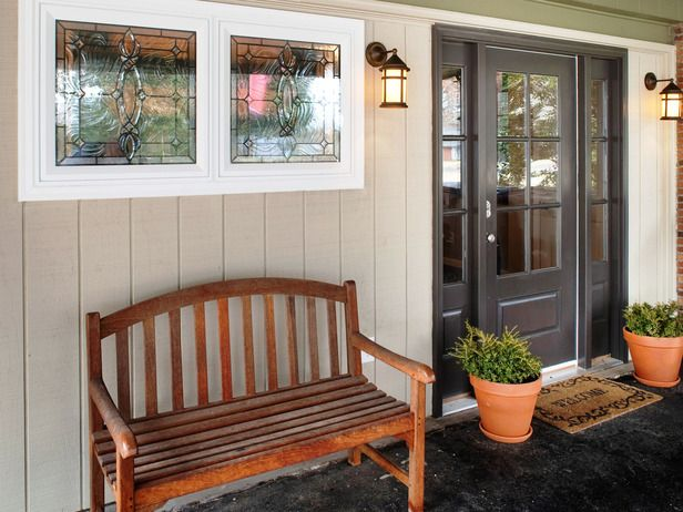 Run my renovation an entry mudroom and den designed by for Craftsman french doors