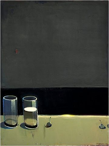 Raimonds Staprans, Dark Still Life with Two Glasses