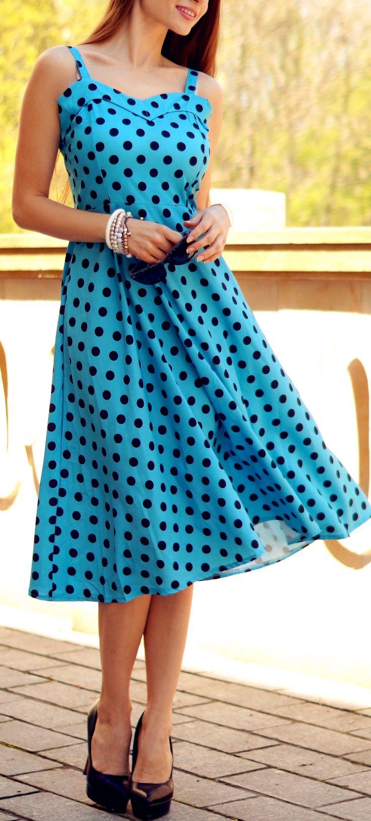 Vintage Sleeveless Sweetheart Neckline Polka Dot Dress For Women