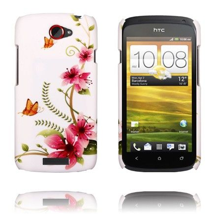 Valentine (Rosa Blomstrer - Oransje Sommerfugl) HTC One S Deksel