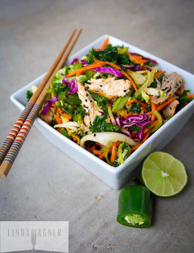 5-Min-Spicy-Asian-Chicken-Salad Recipe - RecipeChart.com #Appetizer #Asian #GlutenFree