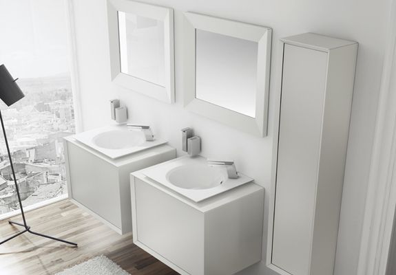 2 drawer cabinet basic. Washbasin for right hand side tap. Stool. Unique collection by pomd'or.