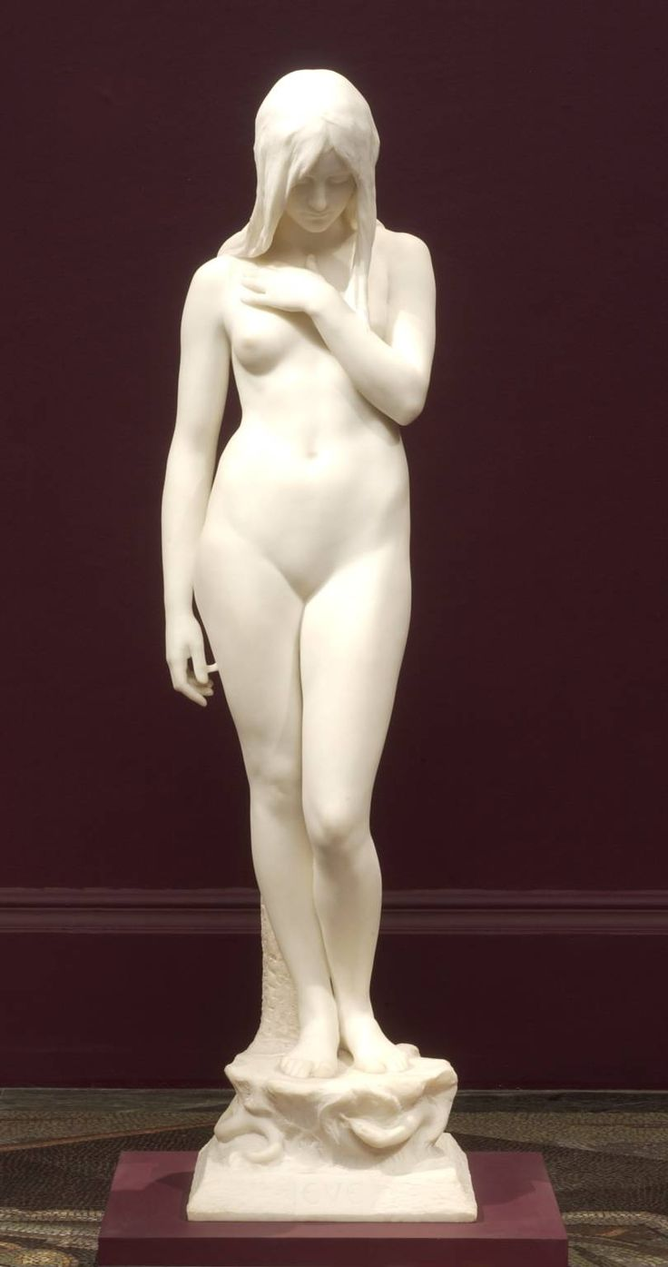 "'Eve', Sir Thomas Brock | Tate Britan | ""Unusually, Eve is not presented as a temptress. Instead she is shown as self-absorbed, her head bowed as if in shame and her left arm placed protectively across her chest. Critics praised its combination of naturalism and spiritualism, as well its subtlety in modelling and expression of feeling."""