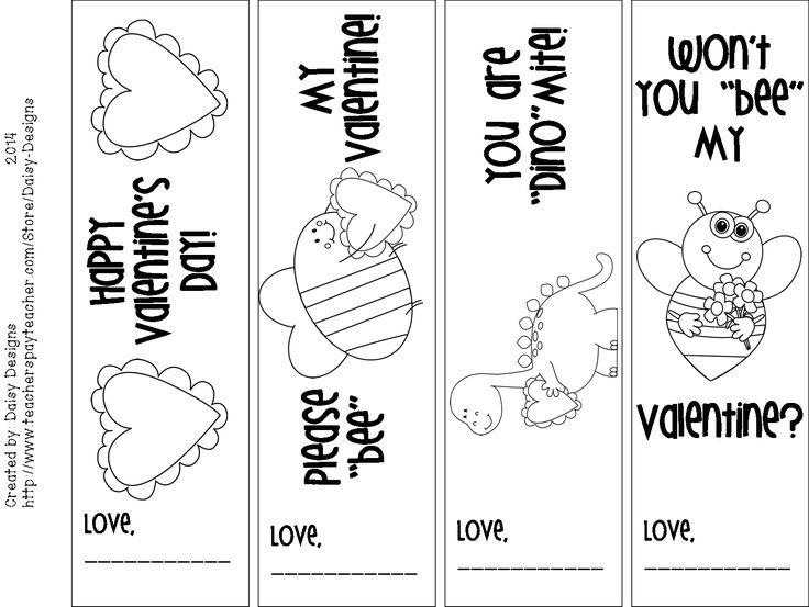 Printable Valentine's Day bookmarks