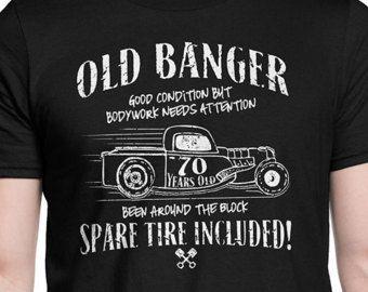 184e2fcf Funny 70th Birthday Old banger t-shirt. Funny Car guy t-shirt. Mechanic  shirt. 1948 shirt for grandfather grandpa dad father cool OLDB-70