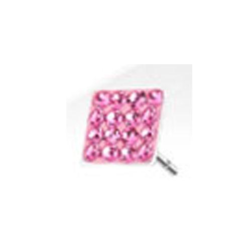 Oorbellen vierkant roze