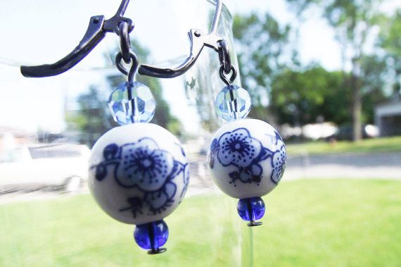 Porcelain earrings / porcelain Earrings by ElLunarBijoux on Etsy