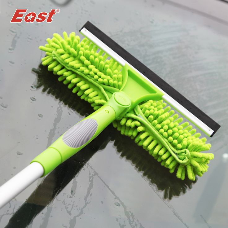 East  Useful Magic  Long Pole Window Squeegee Rotary Wipe Chenille Window Cleaner Glass Brush