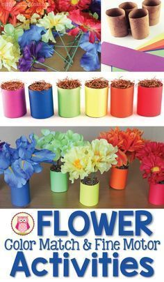 Use flowers from the dollar store and paper towel rolls to make a fun flower color matching activity. Kids can also use the set for counting practice or in a dramatic play flower shop. The flower activities are also great fine motor activities for kids in preschool, pre-k, kindergarten, prep, and tot school.