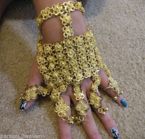 Gold Tone Slave Bracelet W 5 Ring Belly Dance Made India Metal Chain Banjara Steampunkery Pinterest Rings Bracelets And