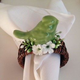 Porta Guardanapo Passarinho em Cerâmica Verde Oliva