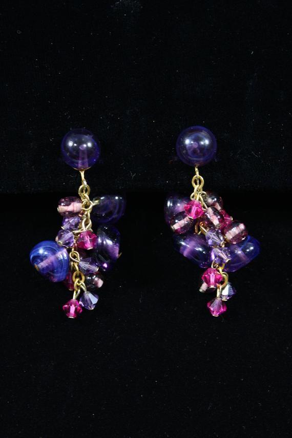 Vintage Lilac Purple Clip on Earrings Antique Earrings 1940s Earrings 40s Earrings Light Purple Girly Earrings Clip Earrings