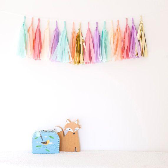 """Roze en Mint kwast Garland Kit - """"Penelope"""" - Mint, Gold, Lilac, Baby roze, perzik, vanille. Kinderen decor, het Decor van de bruiloft, verjaardagsfeest"""