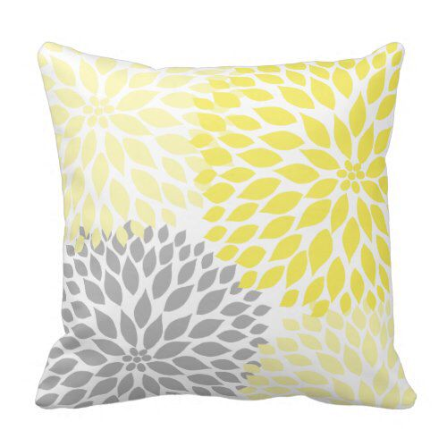 Yellow and Gray Dahlia modern decor sofa pillow