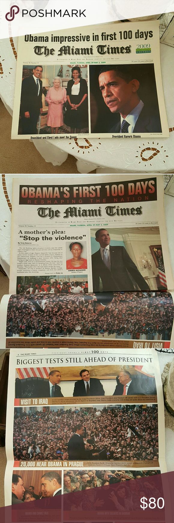 "The MIAMI TIMES, OBAMA'S FIRST 100 DAYS! Another piece of historical proportions.  Our first black president of the United States of America.  This one is a ""has to has"" newspaper.  Think of the future and the education having will bring to your children. They don't make these older newspapers as much and I feel will one day become obsolete. Other"