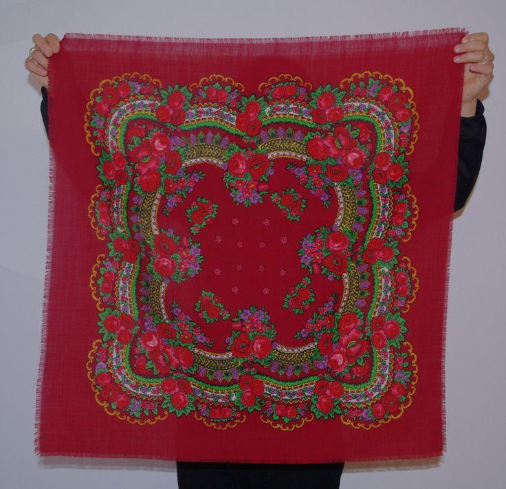 Polish scarf Ukrainian shawl Maroon Russian scarf Wool floral shawl Brown Shawl Folk Flowers Vintage Russian / headscarf Babushka 70's scarf by VintagePolkaShop on Etsy