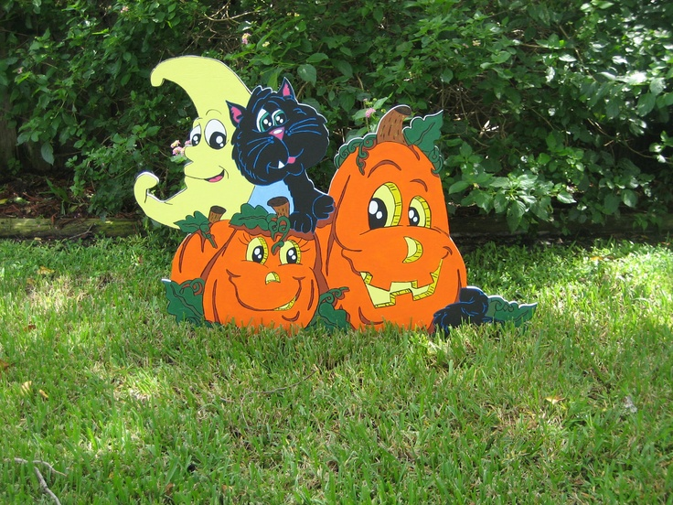 BLACK CAT w/ Pumpkins Patch Buddies  Halloween Yard Art Decoration. $68.95, via Etsy.