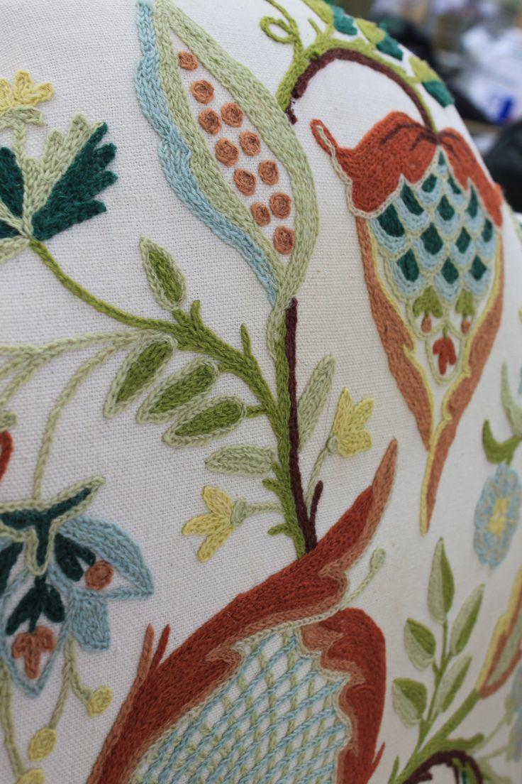 Embroidery details on this thrift store find. Mary Webb chair @ Houston Goodwill