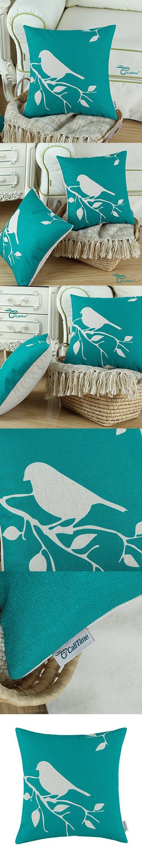Euphoria CaliTime Throw Pillow Cover Vintage Birds Branches, 18 X 18 Inches, Teal