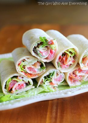 Mini BLT Wraps - easy and great for get togethers. Super bowl party snack.