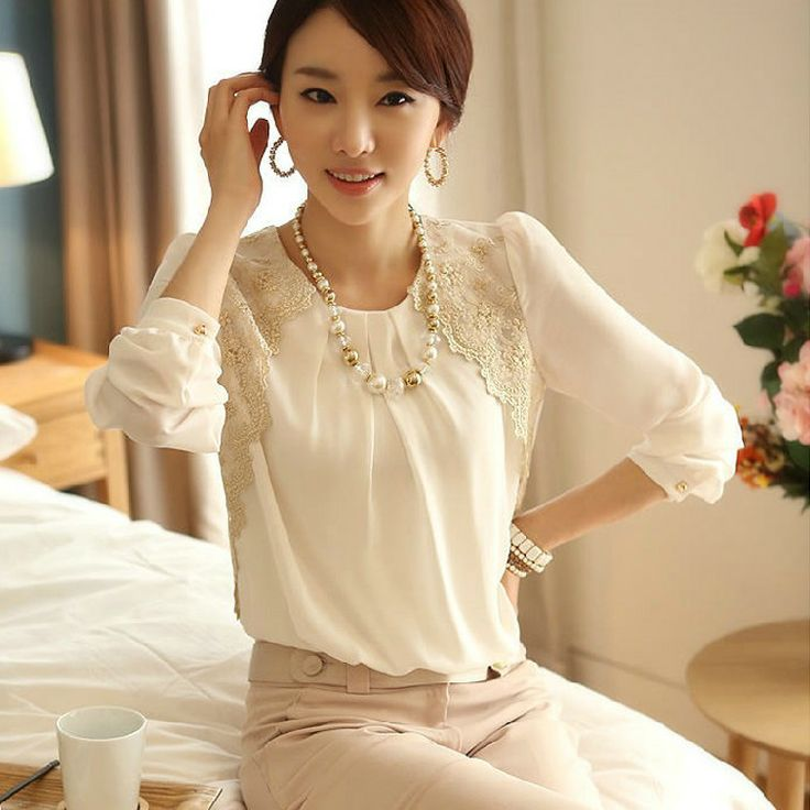 Spring New 2014 Fashion Women Slim Vintage Chiffon Elegant O Neck Flower Lace Blouse White Sexy Pearl Loose Plus Size Shirt-in Blouses & Shi...
