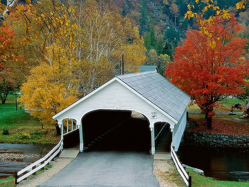 Covered bridge, Stark Village in autumn, New Hampshire.