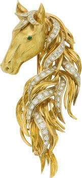Estate Jewelry:Brooches - Pins, Diamond, Emerald, Gold Clip-Brooch, Neiman Marcus. ... (Total: 1  Items) for auction