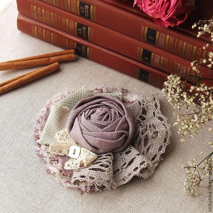 """Купить Брошь из ткани """"Alenushka"""" (текстиль, цветок) - брошь, брошь из ткани, брошь текстильная"""
