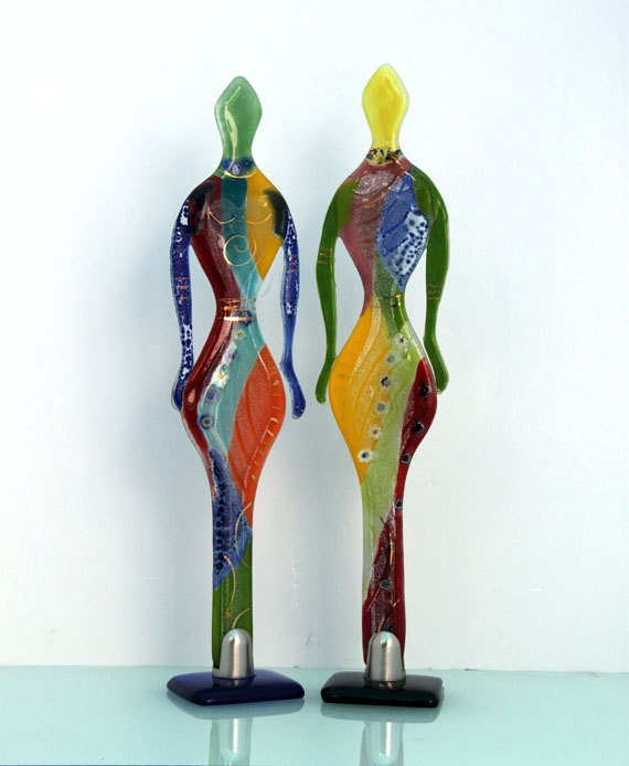 Valentines day  Fused glass  Figure Sculpture art by virtulyglass, $47.00