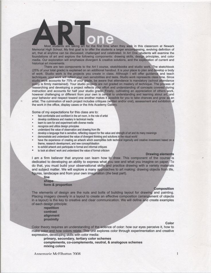 Art one syllabus art classroom management high school