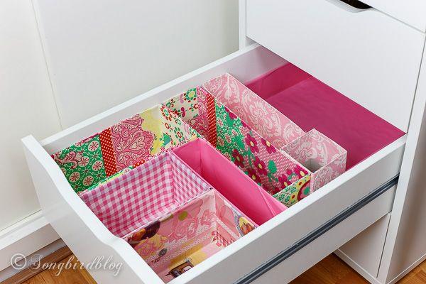 Organizadora gaveta Office. Um projeto de DIY usando caixas velhas. Gratuito, fácil e tão bonito para olhar!