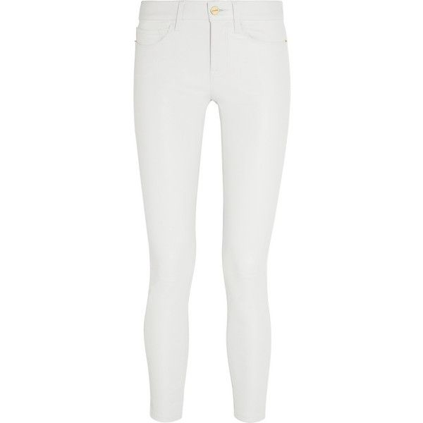 Frame Denim Le Skinny stretch-leather pants ($1,130) via Polyvore featuring pants, jeans, white, skinny trousers, stretch pants, leather pants, stretchy pants and lined white pants