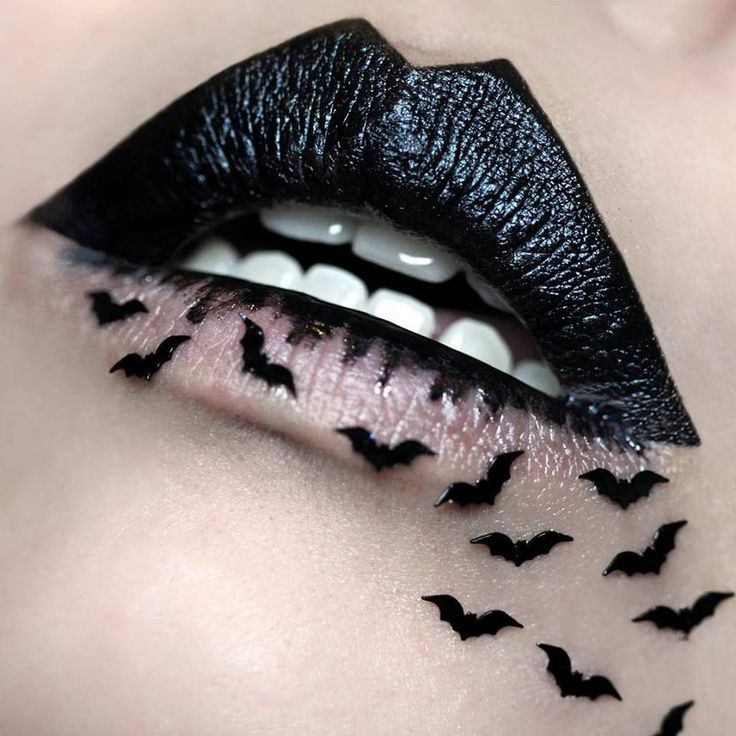 Bat Lips #black #lipstick #halloween #gothic #makeup #mouth