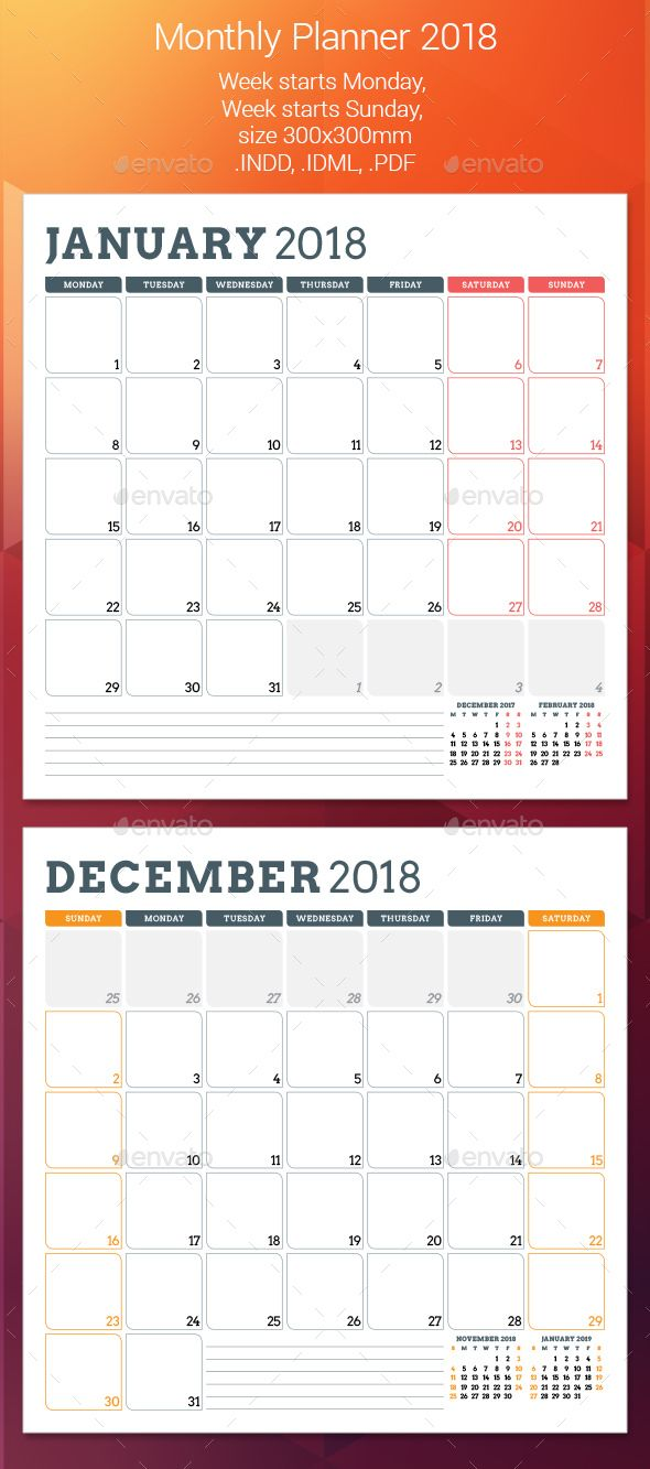 #corporate #personal #Monthly #Planner #template #2018 - #Calendars #Stationery #design. download here: https://graphicriver.net/item/monthly-planner-2018/20226812?ref=yinkira
