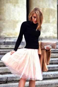 Black Turtleneck Sweater Over Pink Tulle Skirt So Cute I Need To Go And Get A Can Wear This Outfit
