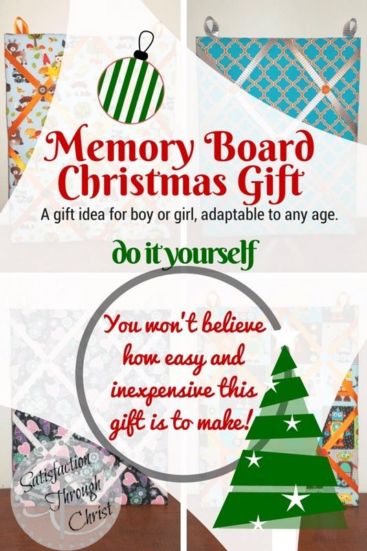 DIY Christmas gift idea for boy or girl, adaptable to any age. Memory Boards as #handmade Christmas gifts! | Satisfaction Through Christ #DIY #Christmas #keepsake #wall #art kids room, teen room, baby nursery, home office, you name it!