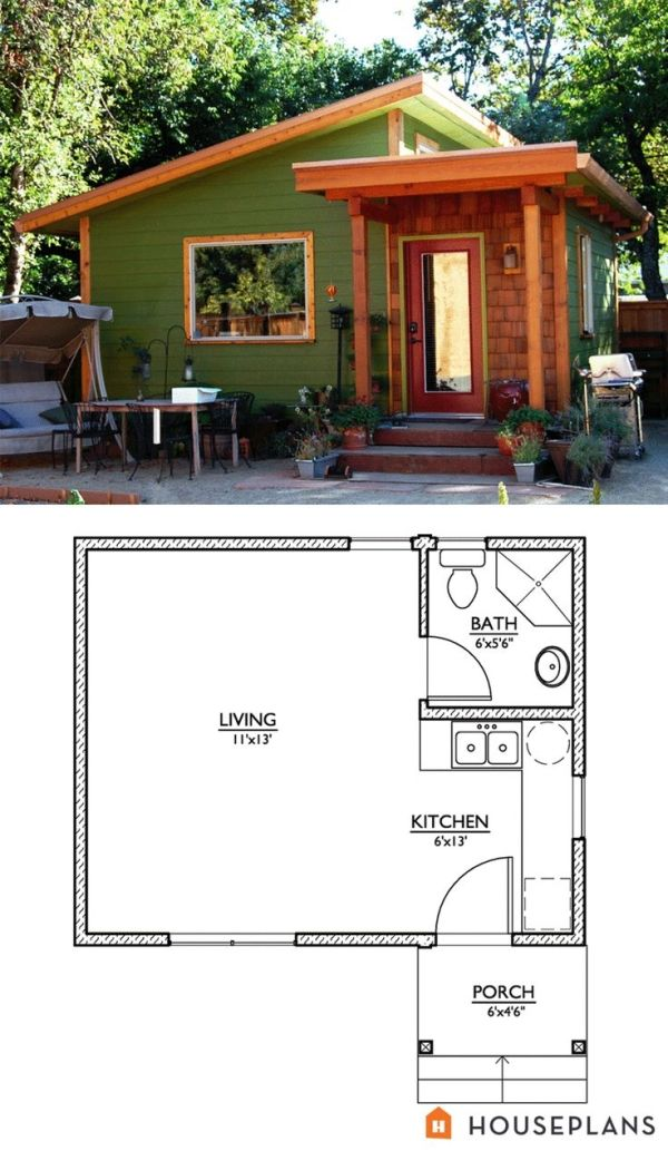 Modern style house plan studio 1 baths 320 sq ft plan for Studio cabin plans