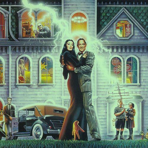 The Addams Family pinball machine backboard art