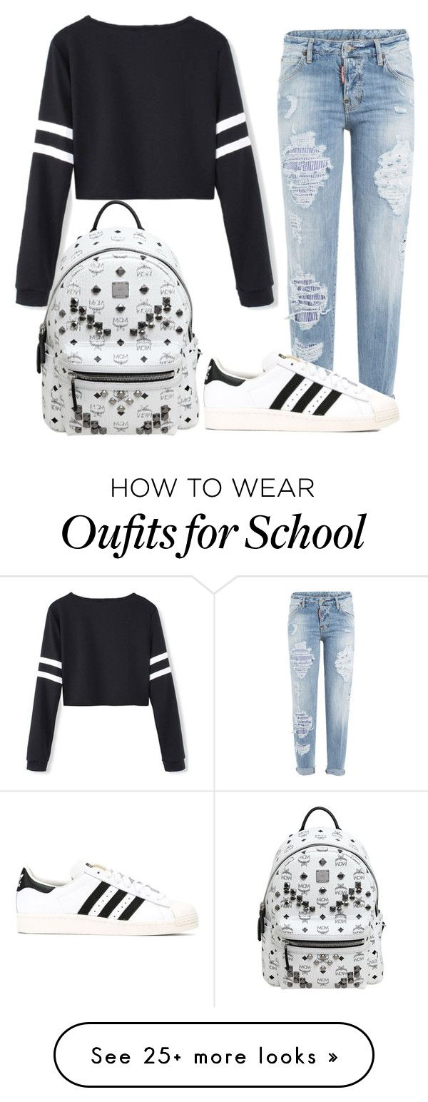 """school outfit"" by cutiegirlof1999 on Polyvore featuring Dsquared2, adidas and…"