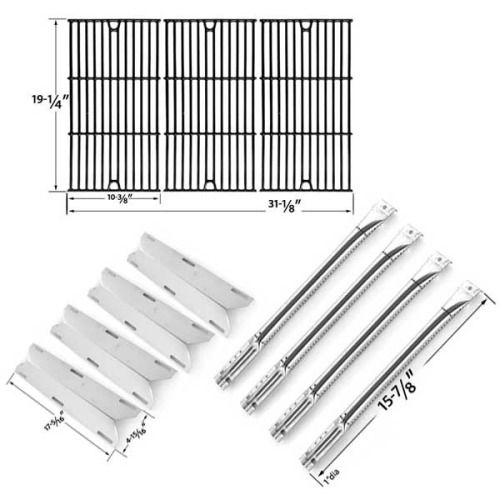 REPAIR KIT FOR CHARMGLOW720-0536, 4 BURNER BBQ GAS GRILL INCLUDES 4 STAINLESS BURNERS, 4 STAINLESS HEAT PLATES AND PORCELAIN CAST COOKING GRIDS
