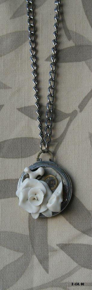 porcelain jewelry pocket watch skull rose bone